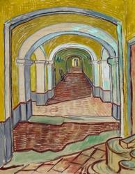 Corridor in the asylum, vincent van gogh - plakat wymiar do wyboru: 60x80 cm
