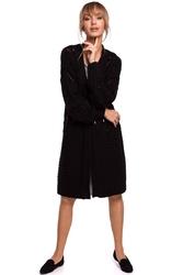 Długi niezapinany kardigan z ażurem - czarny