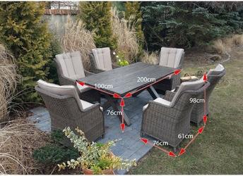 Zestaw mebli ogrodowych stół + 6 foteli kala brązowy technorattan