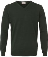 Sweter  pulower v-neck z wełny z merynosów w kolorze butelkowej zieleni l