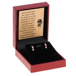 Złote kolczyki pr 585 cyrkonia biała+ ciemno różowa dedykacja - wliczony w cenę