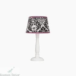 Lampka nocna roomee decor - czarno-amarantowy ornament