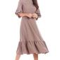 Cappuccino rozkloszowana midi sukienka z bufiastym rękawem 34