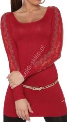 Czerwona tunika z dzianiny  - sweter z kryształkami |  czerwone swetry damskie 8077