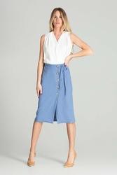 Spódnica midi w kratkę z guzikami - niebieska