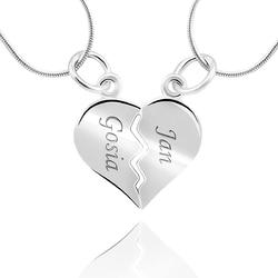 Wisiorek serce łamane łańcuszek srebro 925 grawer