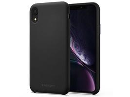 Etui spigen silicone fit apple iphone xr black + szkło alogy