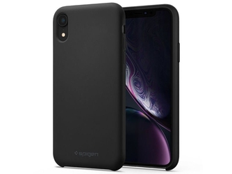 Etui spigen silicone fit apple iphone xr black + szkło alogy