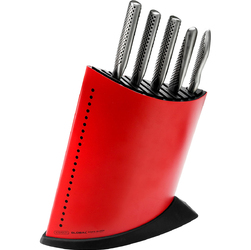 Noże kuchenne w czerwonym bloku na noże Global GKB52CR-SET5