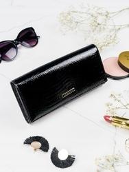 Skórzany portfel damski czarny lorenti 72401 - czarny