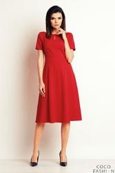 Czerwona Wizytowa Sukienka Midi z Łezką