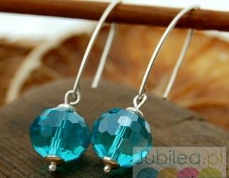 Disco blue - srebrne kolczyki z kryształem