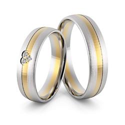 Obrączki ślubne dwukolorowe z sercem i brylantami - au-967