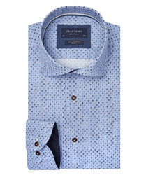 Błękitna koszula profuomo w krzyżyki slim fit 44