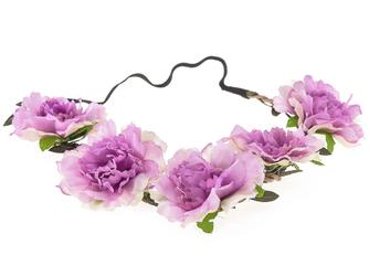 WIANEK OPASKA do włosów KWIATY PIWONIE. lila róż - lilowe