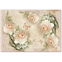 Papier ryżowy Stamperia 48x33 cm róże vintage