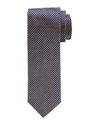 Ciemnobeżowy jedwabny krawat profuomo ze wzorem