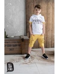 Żółte spodnie z szelkami