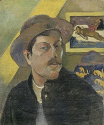 Reprodukcja self-portrait with a hat, gauguin paul