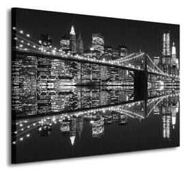 New york brooklyn bridge night bw - obraz na płótnie