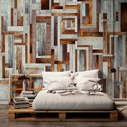 Fototapeta - labirynt z drewnianych desek