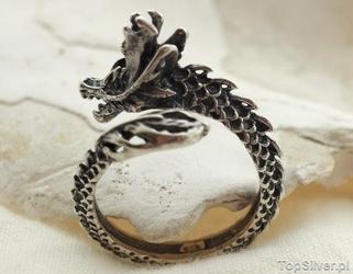Dragon - srebrny sygnet pierścień smoka