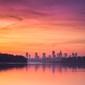 Warszawa panorama miasta o zachodzie - plakat premium wymiar do wyboru: 84,1x59,4 cm