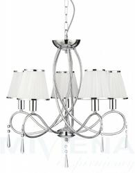 Simplicity lampa wisząca 5 chrom kryształ abażur