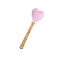 Łyżka silikonowa serce różowa rice
