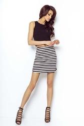 Czarno biała asymetryczna mini spódnica na gumie w paski