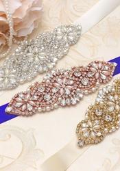 Ozdobny chabrowy pasek z kryształkami i perełkami p849