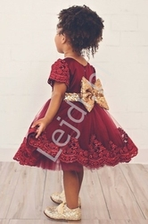 Tiulowa sukienka dla dziewczynki na wesele, święta - ciemne wino z cekinową kokardą