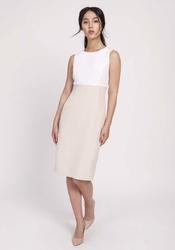 Klasyczna Beżowa Ołówkowa Sukienka z Łączonych Materiałów