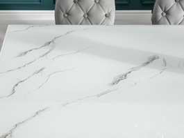 Modern barock elegancki stół do jadalni w stylu glamour ze szklanym blatem i srebrnymi nogami  180x95 cm
