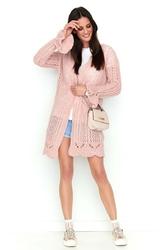 Różowy ażurowy sweter typu kardigan