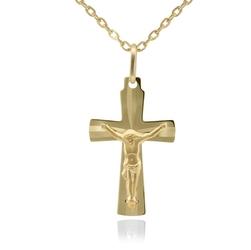 Złoty krzyżyk z jezusem próba 585 grawer
