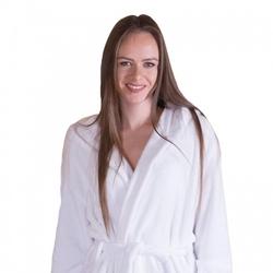 Gruby ciepły szlafrok damski z kapturem biały
