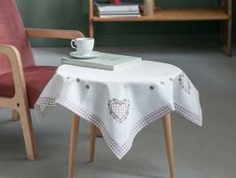 Obrus  serwetka na stół haftowana altom design beżowa kratka 80 x 80cm