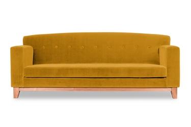 Sofa ros welurowa 3-osobowa welur bawełna 100 musztardowy