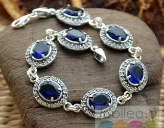 Benson - srebrna bransoleta szafiry i cyrkonie