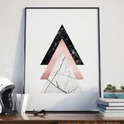 Plakat w ramie - triple triangle , wymiary - 50cm x 70cm, ramka - biała