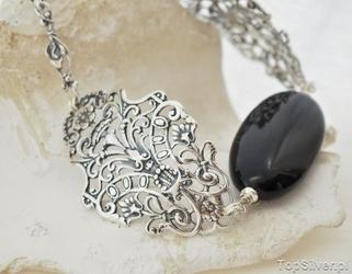 Kendra - srebrna bransoleta z onyksem