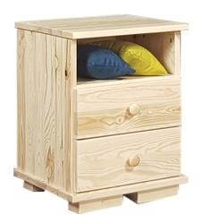 Sosnowy stolik nocny z szufladami modern i