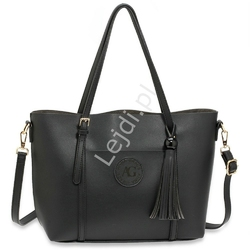 Torebka damska typu shopper w kolorze czarnym z dużym chwostem