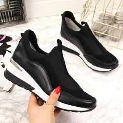 Sneakersy skórzane na koturnie czarne vinceza - czarny