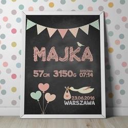 Metryczka dla dziecka - plakat personalizowany w ramie , wymiary - 60cm x 90cm, kolor ramki - biały