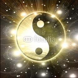 Plakat na papierze fotorealistycznym znak yin yang