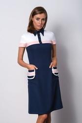 Granatowa sukienka z kołnierzykiem do pracy polo ii