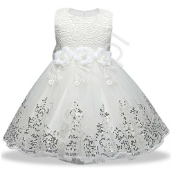 Biała sukienka dla dziewczynki na komunię, tiulowa z cekinami