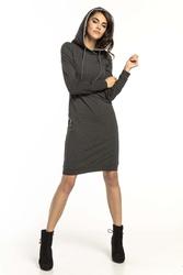 Ciemnoszaro jasnoszara dresowa sukienka w sportowym stylu z kapturem